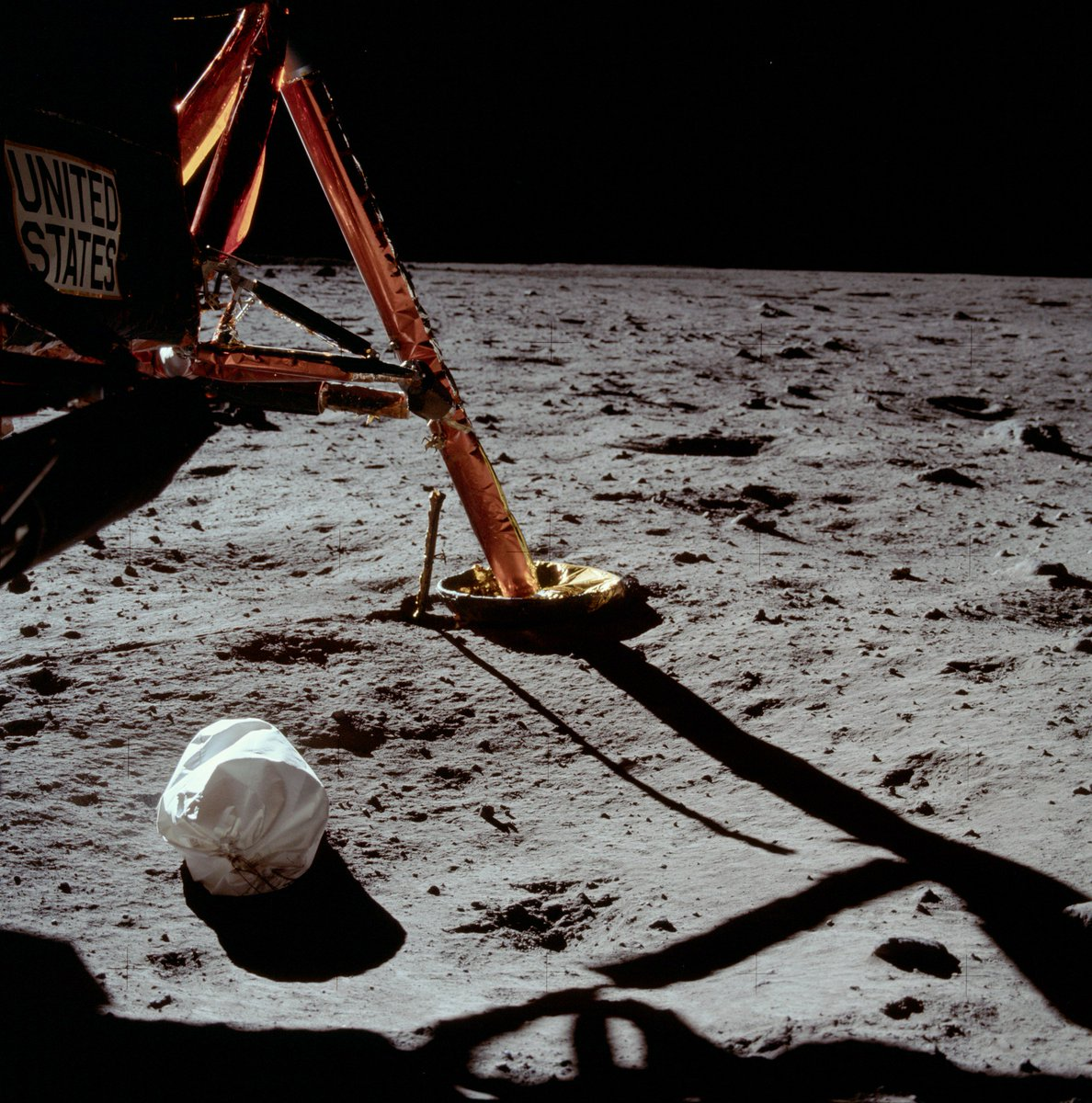 A picture is worth a thousand words. Neil Armstrong took this first lunar spacewalk photo on this day in 1969.  #Apollo11