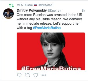 Russian Foreign Ministry continuing this AM to promote its 'Free Maria Butina' effort.