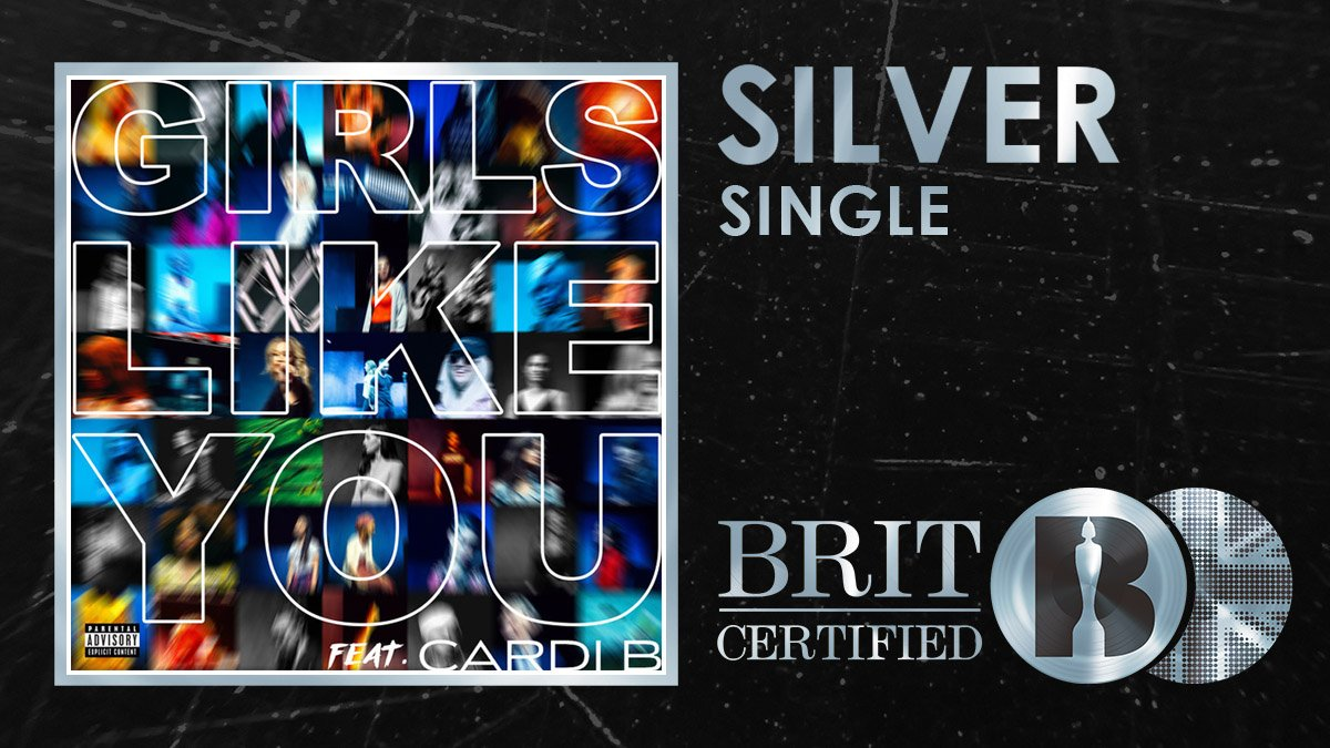 💃 Girls Like You feat. @iamcardib has become @maroon5s 13th #BRITcertified single! 🇬🇧💿