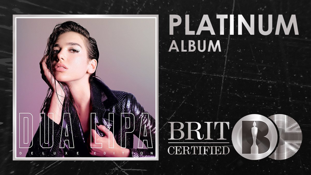 Chocked full of bangers like New Rules, IDGAF and Be The One, two-time BRIT Award winner @DUALIPAs self-titled debut album is now #BRITCertified Platinum! 🇬🇧💿
