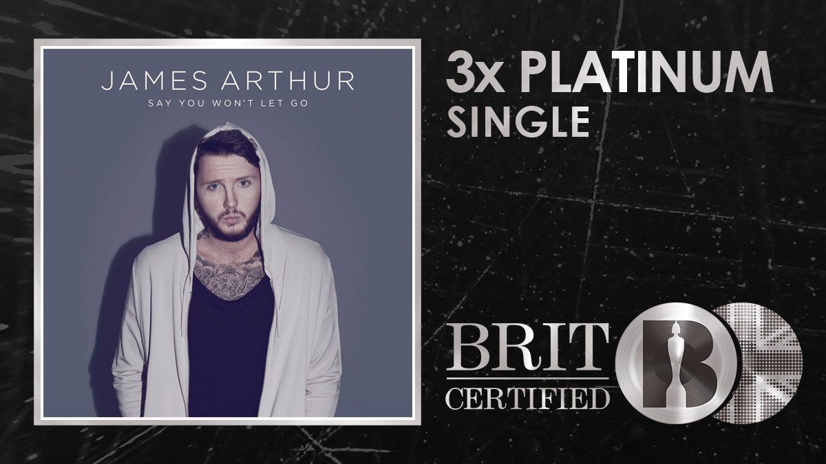 💧 Weve definitely shed a tear or two to @JamesArthur23s stunning Say You Wont Let Go which is now #BRITcertified 3x Platinum! 🇬🇧💿💿💿