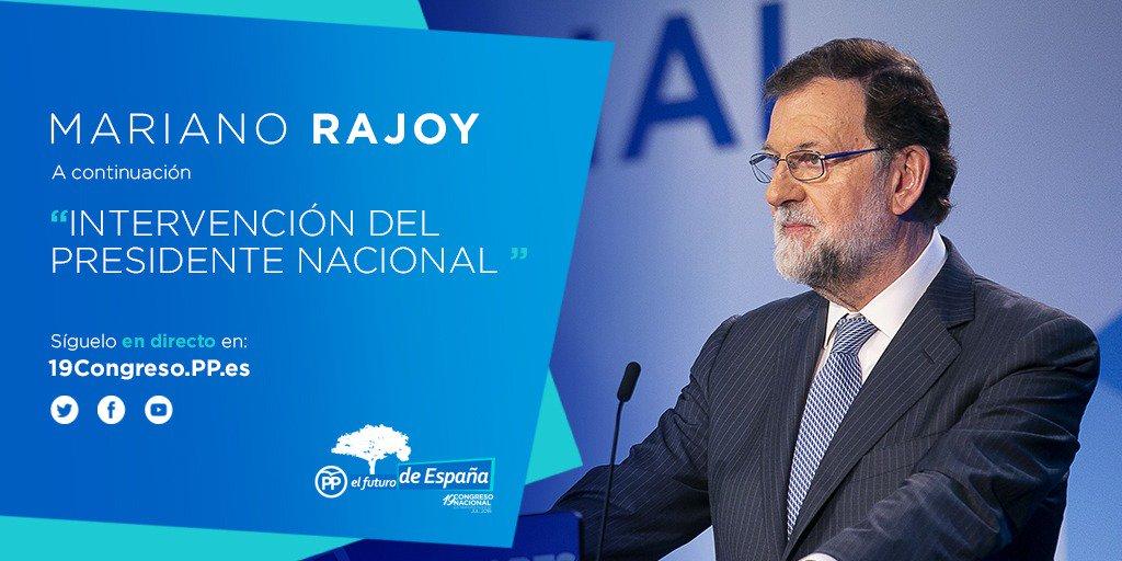 Sigue en directo a @marianorajoy en el #19CongresoPP 📡19congreso.pp.es #GraciasRajoy 👏👏👏