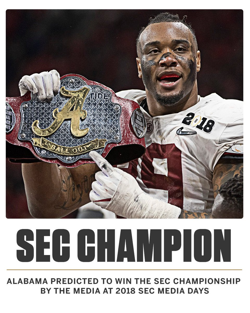 Roll Tide!  Alabama predicted to win 2018 SEC Championship at #SECMD18:  https:// bit.ly/2uBviDp  &nbsp;  <br>http://pic.twitter.com/r7zX0vMTNR