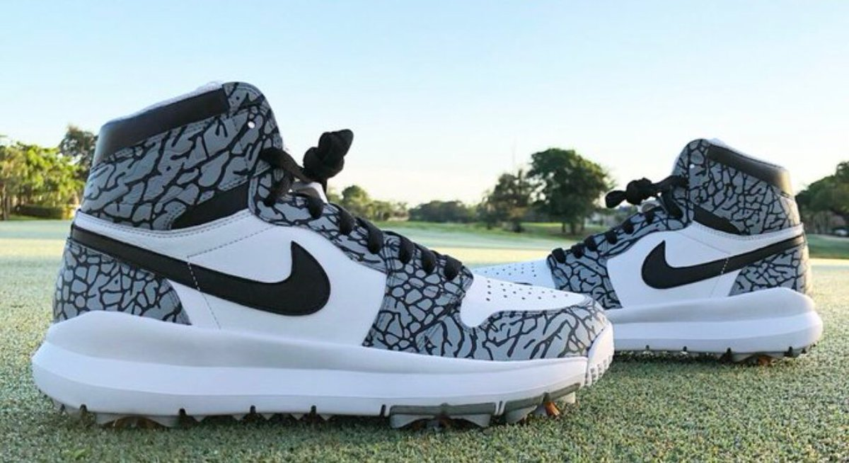 Custom Air Jordan 1 spikes worn by Pat Perez at The Open, made by @nomadcustoms.