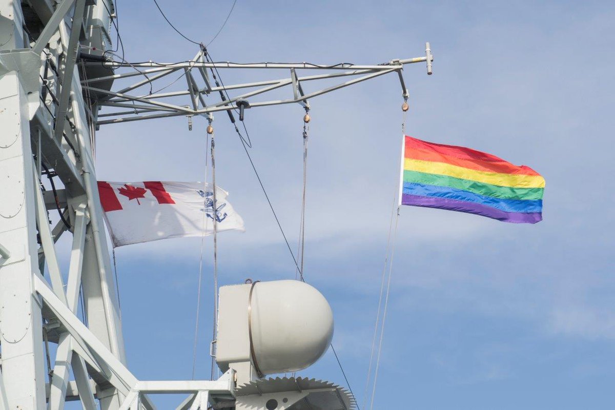 HMCS Ville De Quebec raised the Pride flag yesterday to celebrate @HalifaxPride Week. 🏳️‍🌈#DiversityIsOurStrength Happy Pride from those of us at sea on Operation REASSURANCE! #HFXPride