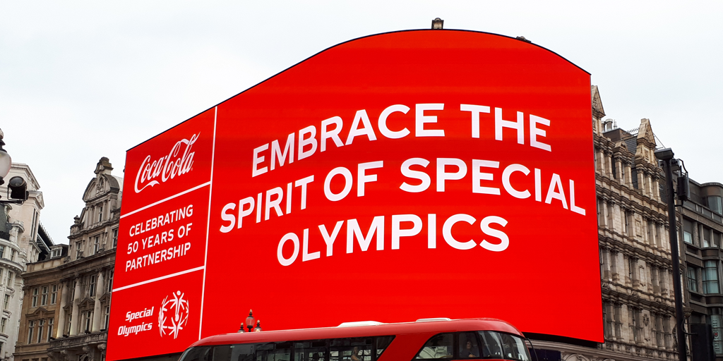 It's a privilege to have worked on such a fantastic project as part of @CocaCola_GB's 50 year celebration supporting the @SpecialOlympics and to see our work in flashing lights! #lightupforinclusion 🙌🙌🙌