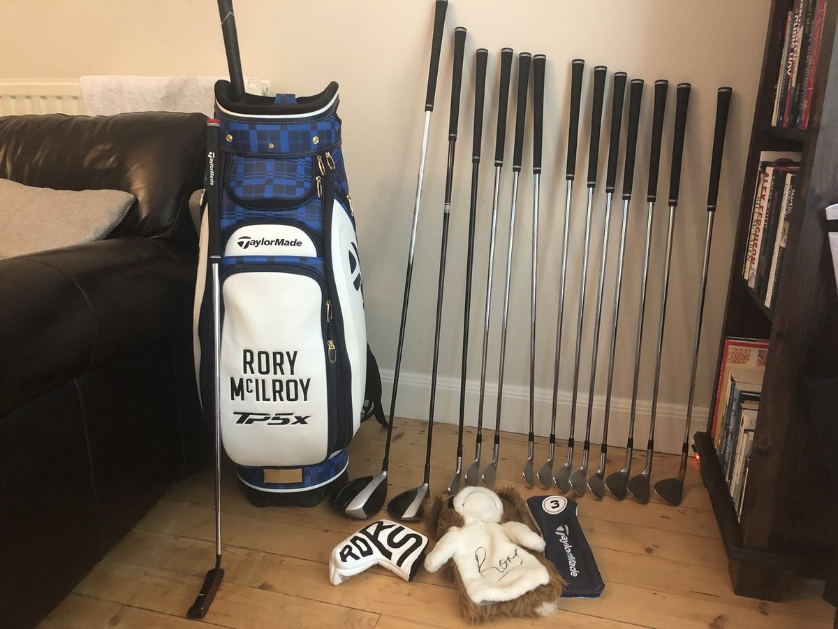 Clubs need drying after a wet day at #TheOpen ☔️ Retweet for a chance to win my limited edition @TaylorMadeGolf bag