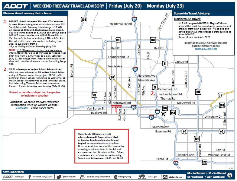 Hitting the road this #weekend? Check @ArizonaDOT's #freeway travel advisory so you don't get caught in #traffic! #trackingtomorrow #aztraffic  https://t.co/nncw7oCtaQ