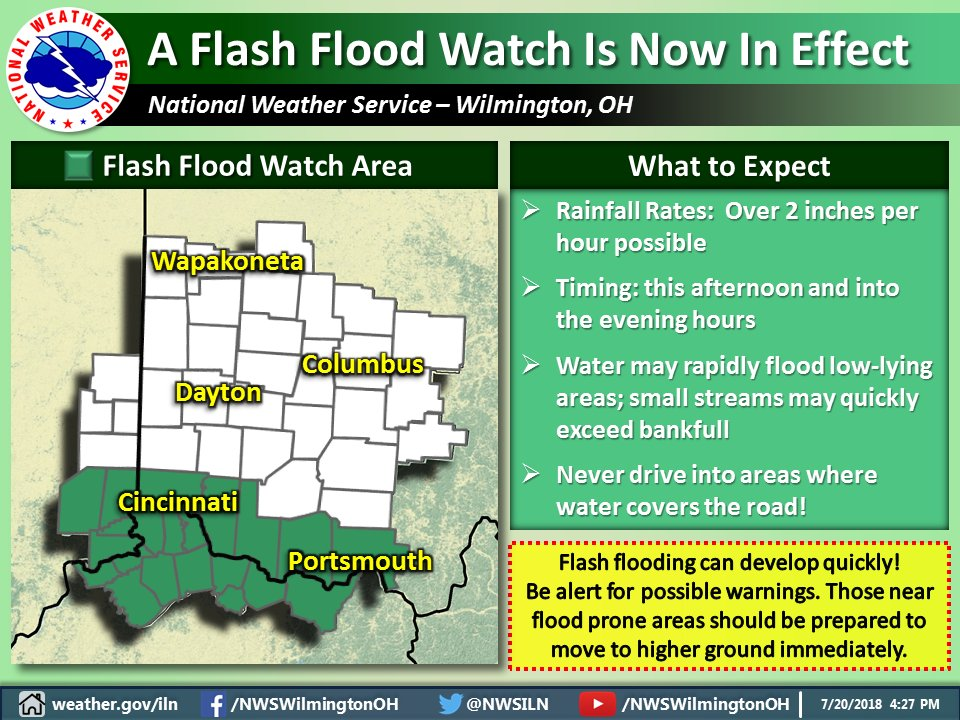 Nws Wilmington Oh On Twitter A Flash Flood Watch Is In