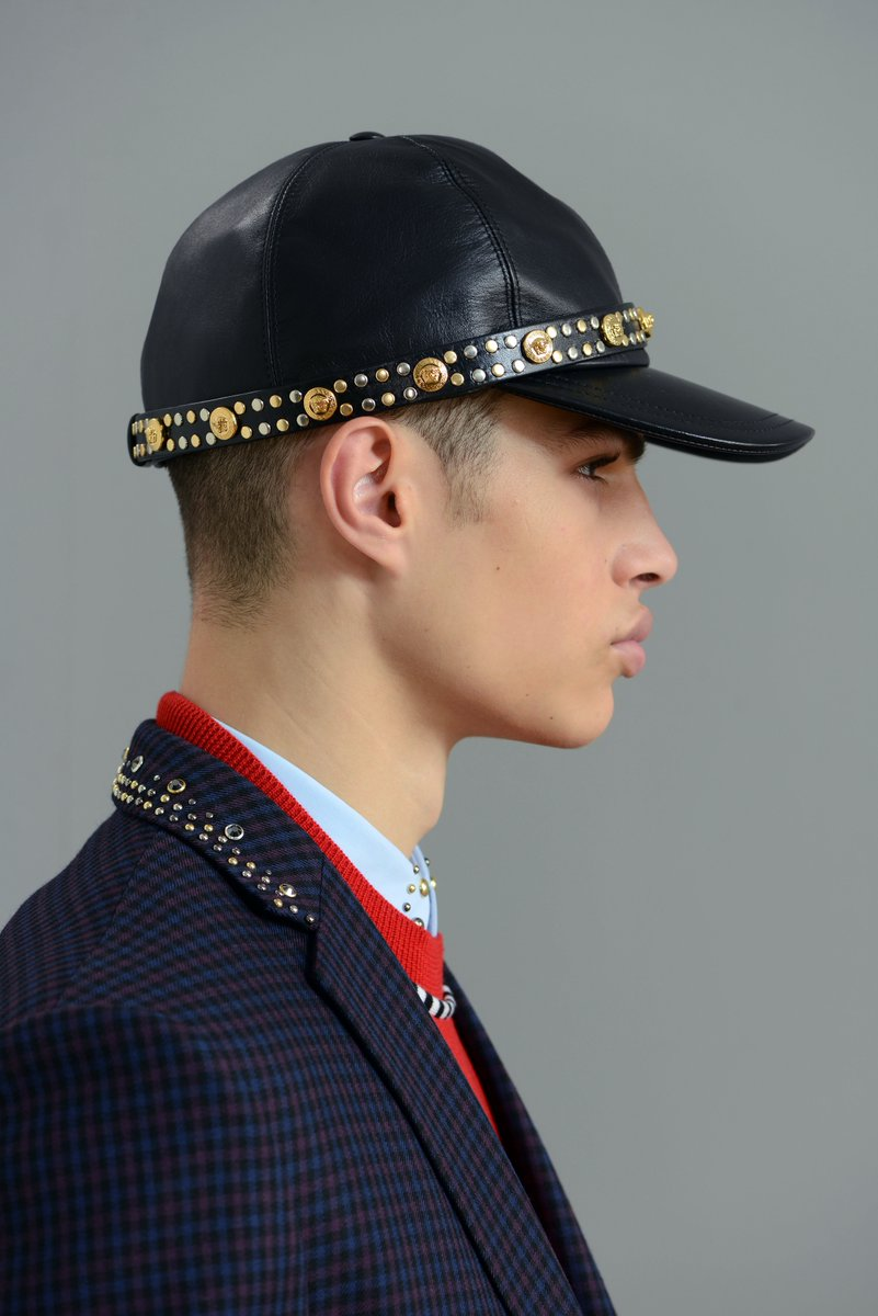 Leather, studs, Medusas - the style cap off.  Discover the #VersaceFW18 men's collection now: https://t.co/NoSI7cBtKP