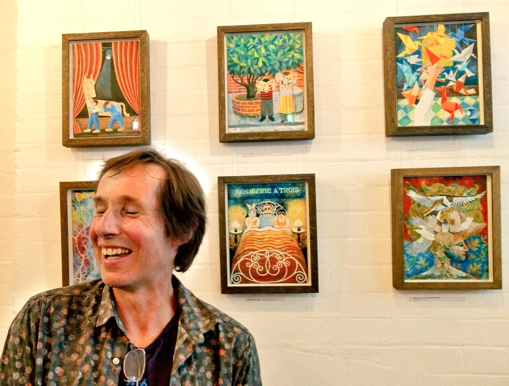 test Twitter Media - RT @kitboyd: Jim Anderson with his beautifully crafted paintings and linocuts @PoetrySociety this evening. https://t.co/wCqJUxlW4M