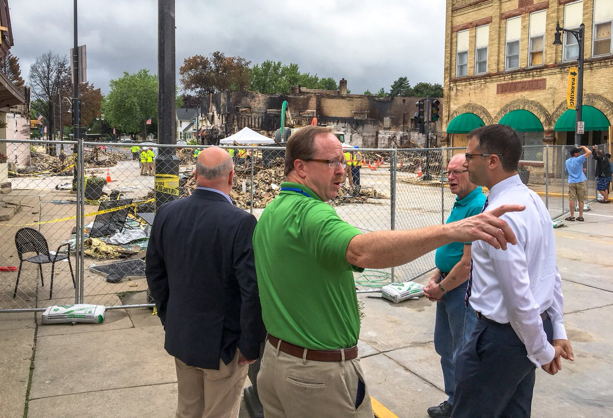 Today I visited the site of the natural gas explosion that took place in Sun Prairie, Wisconsin. My thoughts are with the family of Cory Barr, who tragically lost his life in the line of duty, and the businesses and families affected by this explosion. <br>http://pic.twitter.com/EagvddGM79