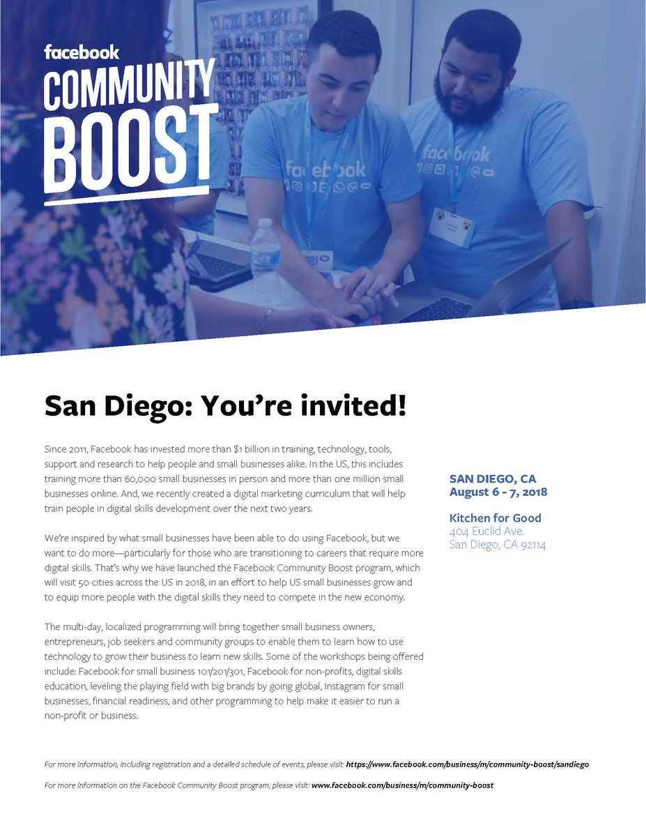 The Chamber is proud to partner with Facebook on the Community Boost program coming to San Diego Aug 6-7. This FREE event offers in-person training and advice on how to grow your business or your career.  Learn more: https://t.co/eHLkDnmQ7J