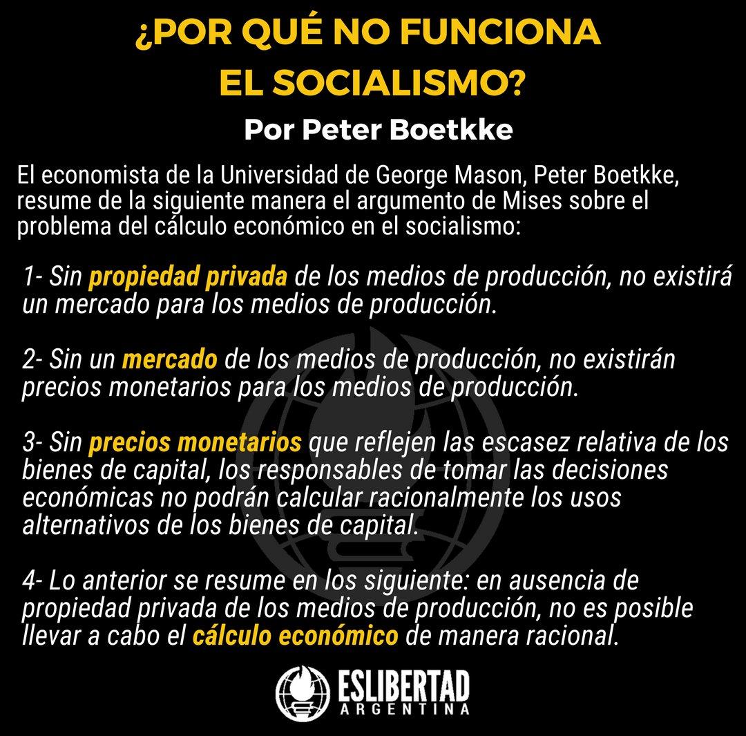 """EsLibertad Argentina a Twitter: """"¿Por qué no funciona el socialismo? Fácil,  la respuesta está en el cálculo económico y acá te explicamos por qué:… """""""