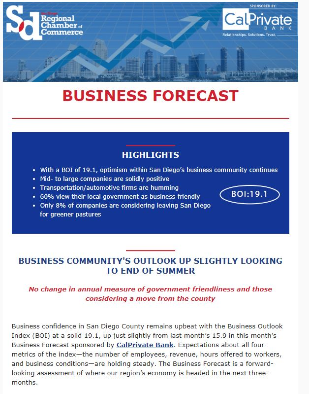 Business Forecast: Business Community's Outlook Up Slightly Looking To End of Summer - https://t.co/bgl695cm8t