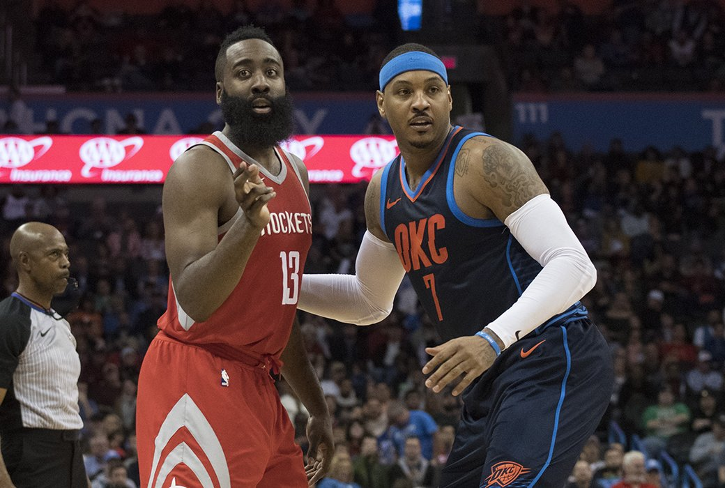 James Harden says Carmelo Anthony would be a 'great acquisition' for the Rockets.  'Melo is a proven vet. He just wants to win at this point' https://t.co/fZCbXd5hca