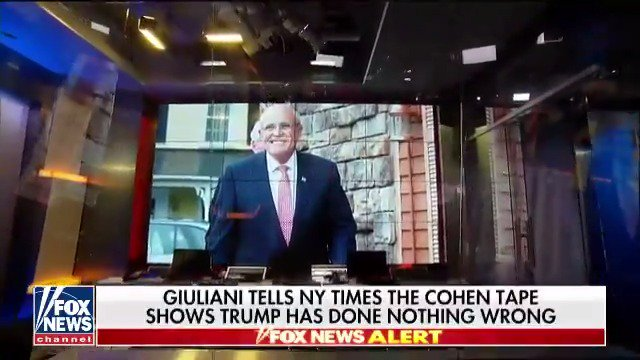 Giuliani tells NYT the Cohen tape shows Trump has done nothing wrong. https://t.co/S9nsrTDXoj https://t.co/GxaAZ2nNWi
