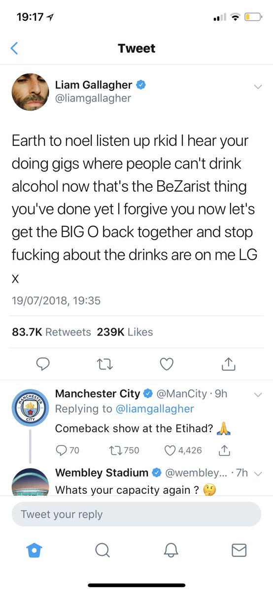 Liam Gallagher tweeting no one asking Noel to get back together is one thing. But city and Wembley arguing in the comments is a whole other level of weird. 🤨
