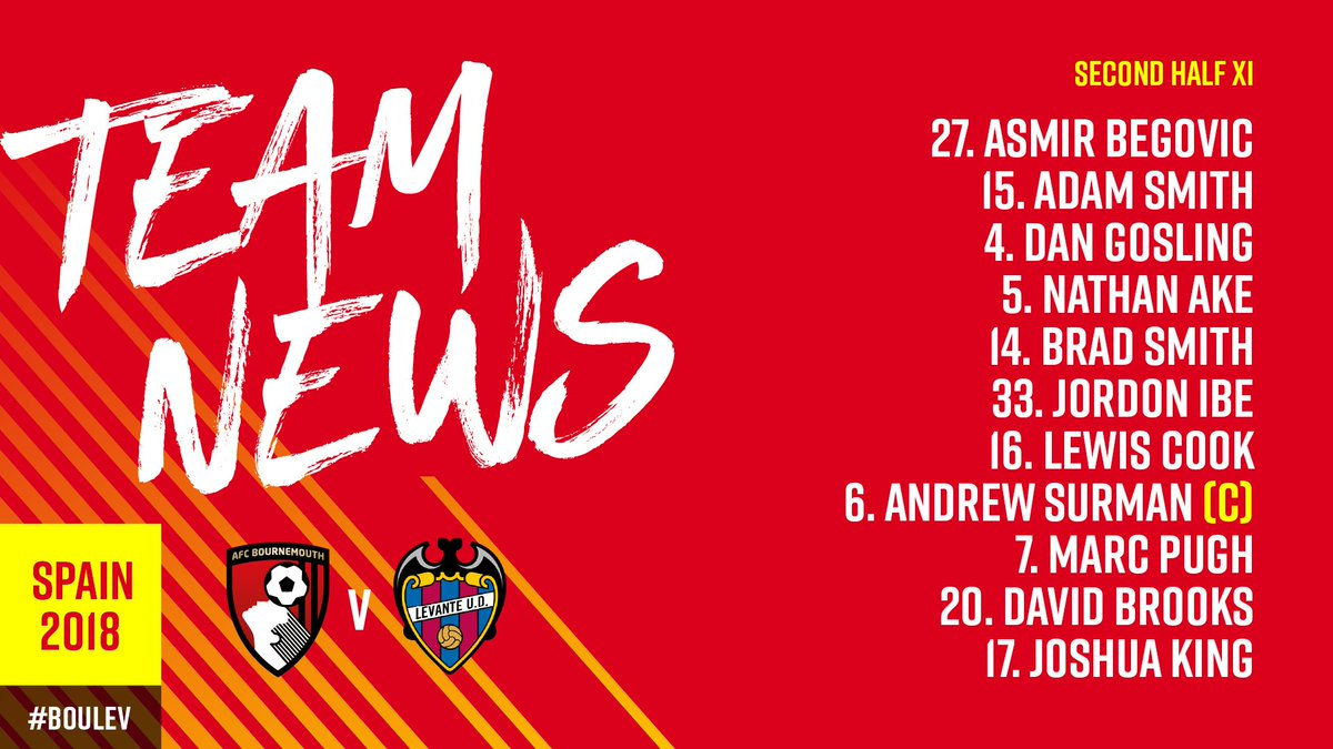 Were back underway and heres our second half XI to face @LevanteUD! #BOULEV 🍒 3-3 🔵 (46) Watch live ➡️ bit.ly/live-afcb-leva…
