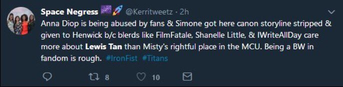 Imagine thinking I cape more for peen than I do Black women. But also thinking that Misty--who has appeared in Luke Cage, The Defenders, and most likely Iron Fist--is being shafted because shes not getting boho peen 💀💀💀