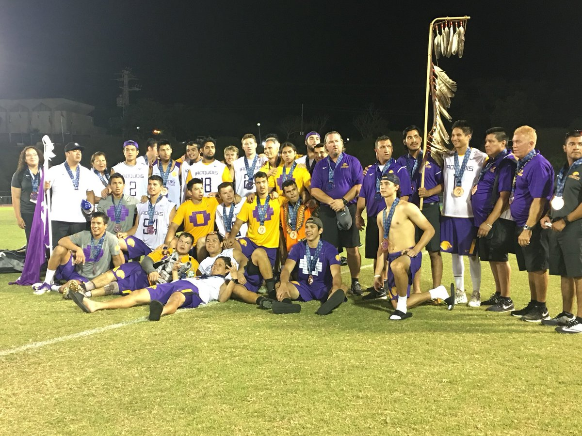 Presenting your @2018WorldLax bronze medalists, @IrqLax. 🥉 Iroquois hold off a late @laxaus run to win 14-12 and capture another bronze. (Via @FILacrosse)