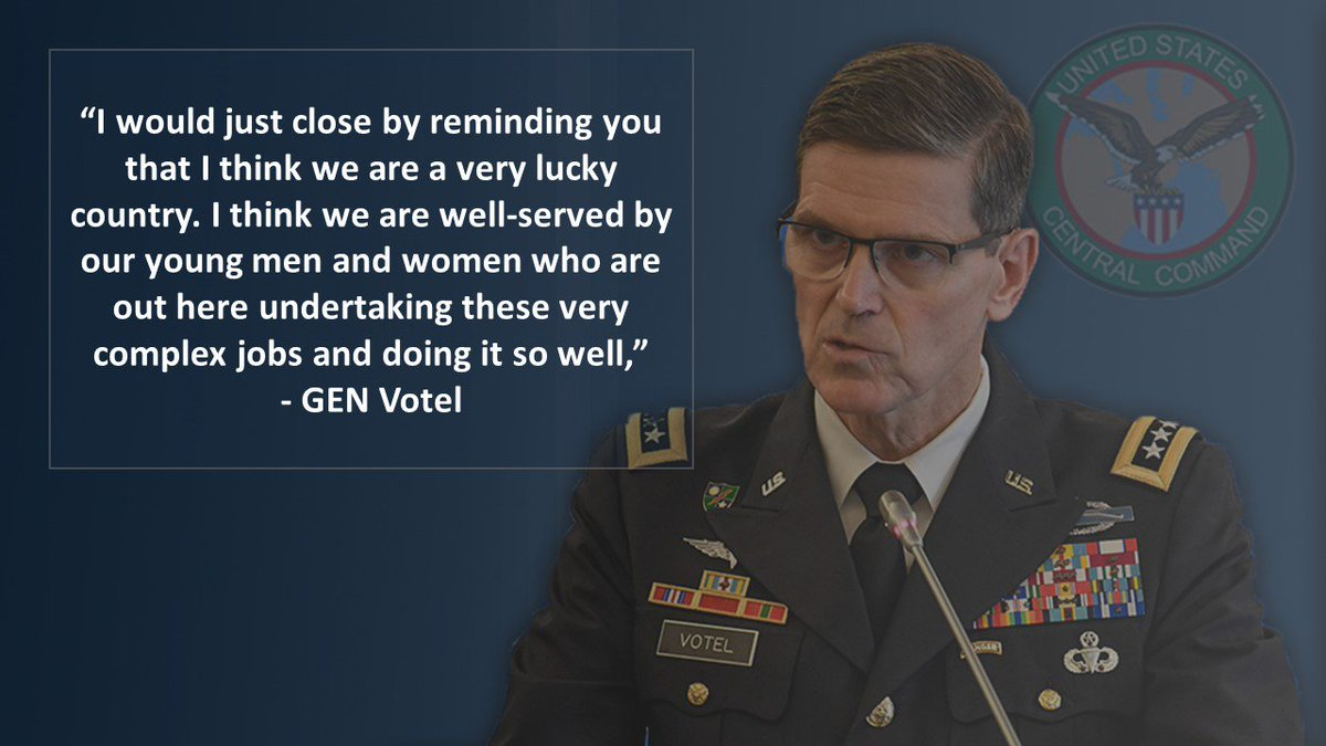 """I would just close by reminding you that I think we are a very lucky country. I think we are well-served by our young men and women who are out here undertaking these very complex jobs and doing it so well"" - GEN Votel @ResoluteSupport @USFOR_A @CJTFOIR @OIRSpox #ANDSF"