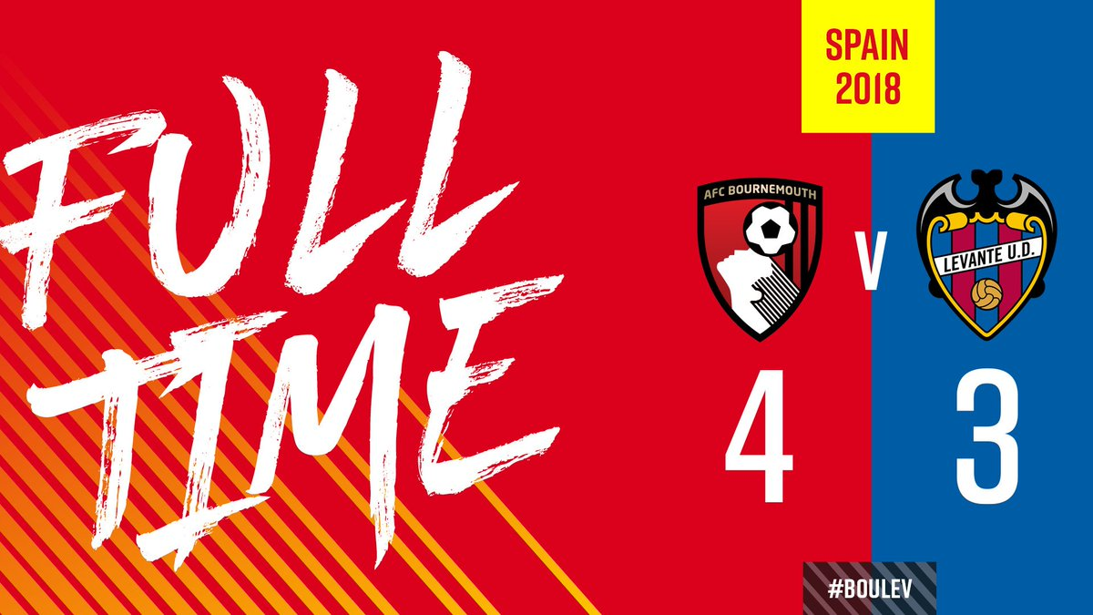 👏 Theres the whistle, as we edge a seven-goal thriller against @LevanteUD at @LaMangaClub. Hyndman, Defoe, Simpson and Lewis Cook with the goals. #afcb 🍒