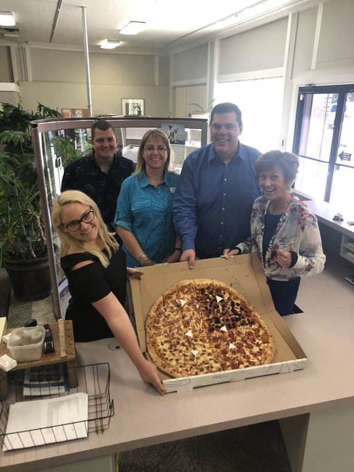Pizza Colossus from @PizzaPipeline for office 🍕 party with Steve Juul from @stcu! #FridayFeeling #Spokane Photo