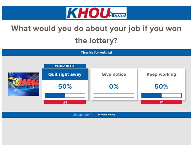 YOUR TAKE: What would you do about your job if you won the lottery? VOTE HERE --> https://t.co/hhgRtCLQT3