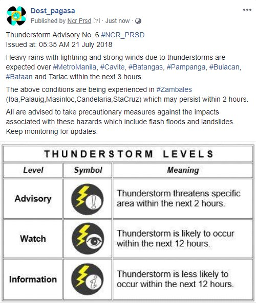Thunderstorm Advisory No. 6 #NCR_PRSD Issued at: 05:35 AM 21 July 2018