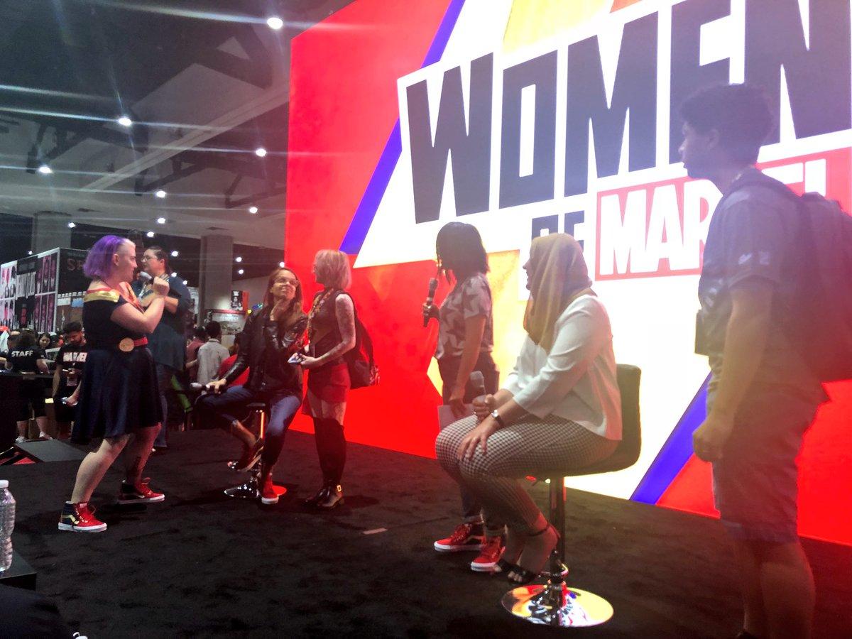 #WomenOfMarvel hosts @MiniB622 and @OMG_Dj_Judy celebrate 50 years of Captain Marvel now on the #MarvelSDCC stage! Watch: https://t.co/rJIPXTrmaz