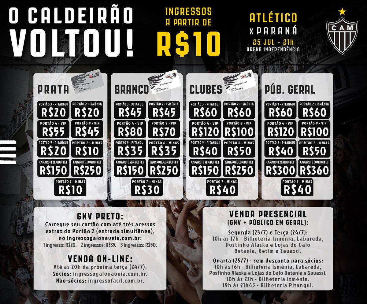 Atlético x Paraná: venda on-line continua neste sábado! Te esperamos no Horto, Massa!   Sócios @GaloNaVeia: https://t.co/Pc5YdoLGaj   Não-sócios: https://t.co/LCW93cRTHP   Venda presencial terá início nesta segunda-feira (23/7): https://t.co/e3IsvUZKZ3   Vamos, #Galo!
