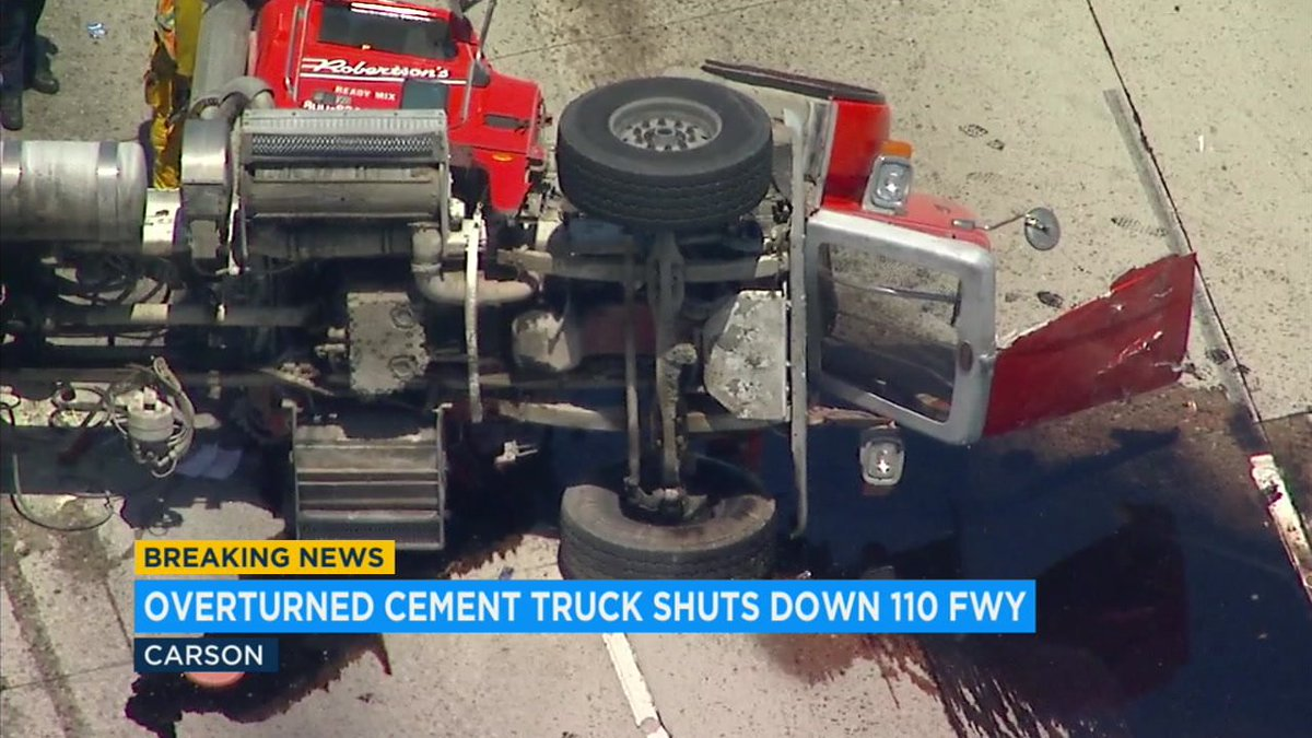 Overturned cement truck snarls southbound 110 Freeway traffic in Carson, driver injured https://t.co/lDLP9jFiGT