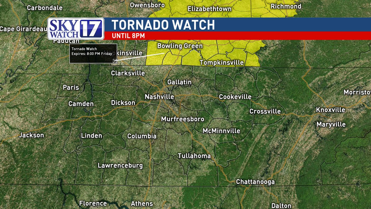 .@katymorganwx tracking the latest with tonight's storms.  Tornado Watch in effect for southern KY right now: https://t.co/wHWuG95mFT