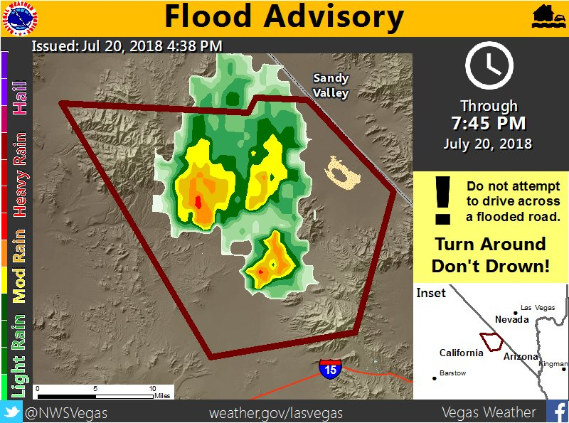 4:41 - Flood Advisory issued for #SanBernardinoCounty south of #SandyValley and north of I-15. #cawx