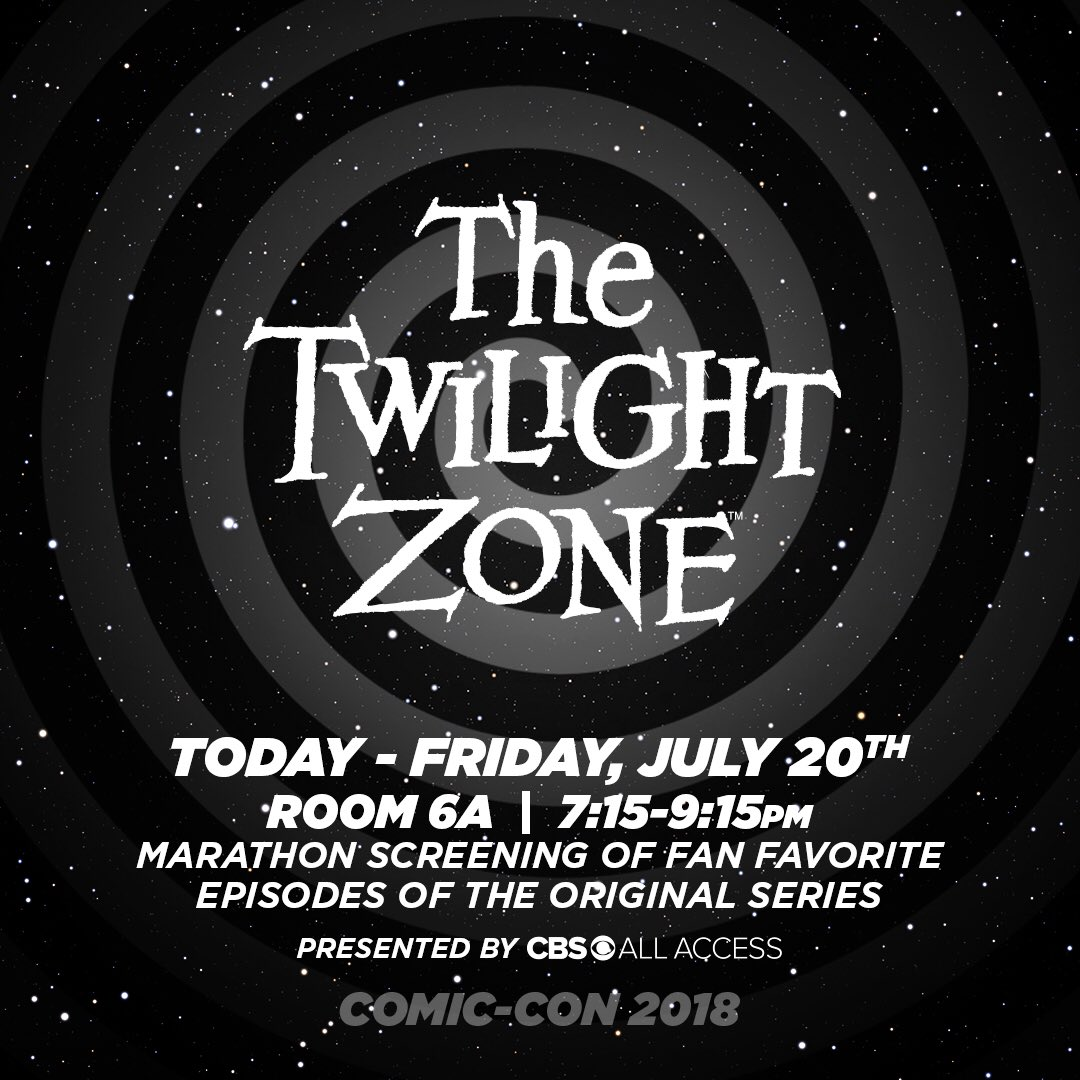 Another dimension awaits! Join us for a marathon screening of fan favorite episodes of the original series #TheTwilightZone TONIGHT at 7:15 in Room 6A. #SDCC