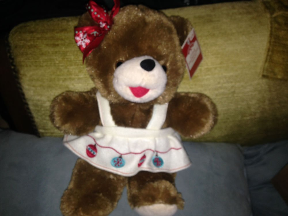 "2018 WalMART CHRISTMAS Snowflake TEDDY BEAR Brown Girl 13/"" Red Outfit Brand NEW"