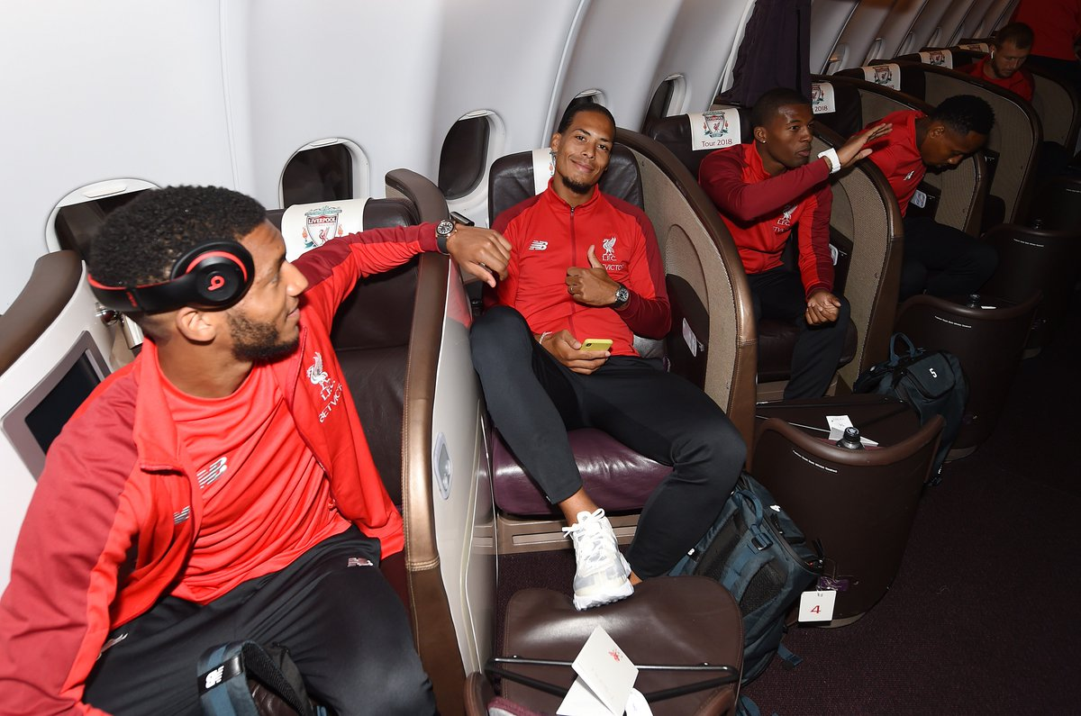 [Photos] Salah Joins New Signings On Plane As 29-Man Liverpool Squad Flies-Out To US