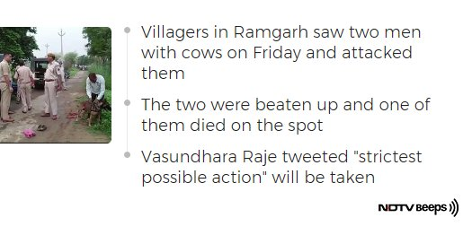 Man Beaten To Death In Rajasthan's Alwar On Suspicion Of Cow Smuggling https://t.co/hYZSNOntJ2 #NDTVNewsBeeps
