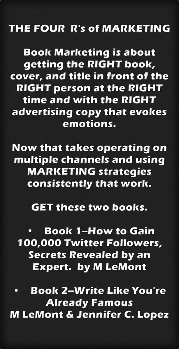 The FOUR R's of Book Marketing. ASK Me ANYTHING https://t.co/hzpxEkbK6I #SMM #Twitter #SocialMedia #Writers