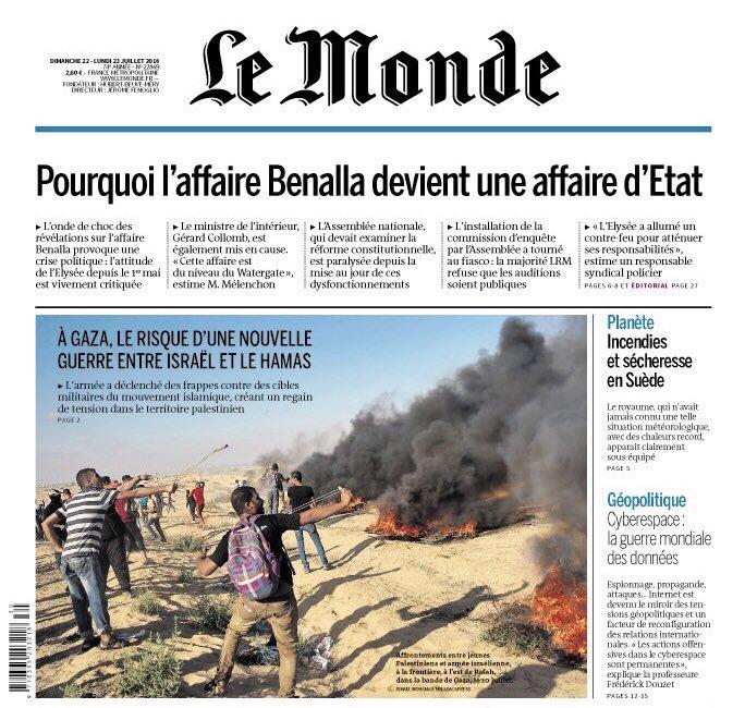 Pronostic : Ce n'est que le début. La Une du Monde :  #Benalla devient une Affaire d'État.