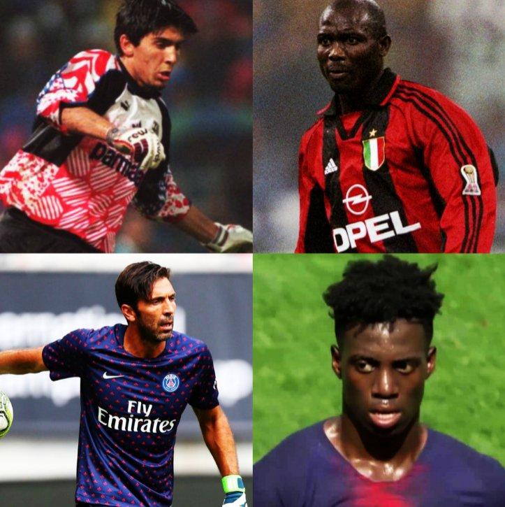 ➔ 1995. Gianluigi Buffon, de 17 años, debuta profesionalmente enfrentando al AC Milan, donde jugaba George Weah. ➔ 2018. Gianluigi Buffon, de 40 años de edad, es el portero del PSG, donde comparte con Timothy Weah (hijo de George), quien le acaba de marcar al Bayern Munich.