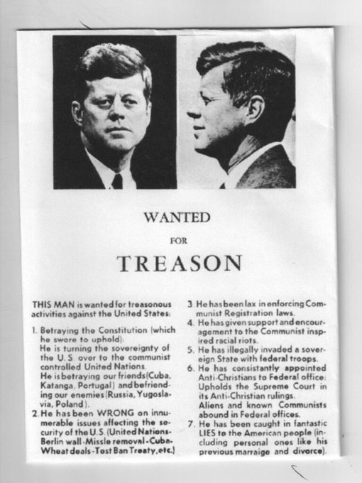 Did You Know: Thousands of flyers accusing JFK of Treason for 'befriending Russia' were distributed in Dallas just days ahead of his assassination Photo