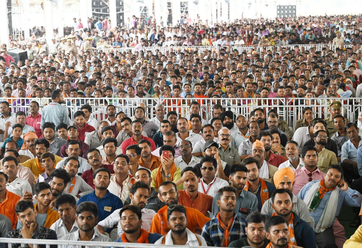 People joined us in large numbers at the rally in Shahjahanpur.  Spoke about the Government's efforts in agriculture, steps for the welfare of sugarcane farmers and yesterday's no-confidence motion which once again brought out the Opposition's opportunism. https://t.co/zZrMAJToUt