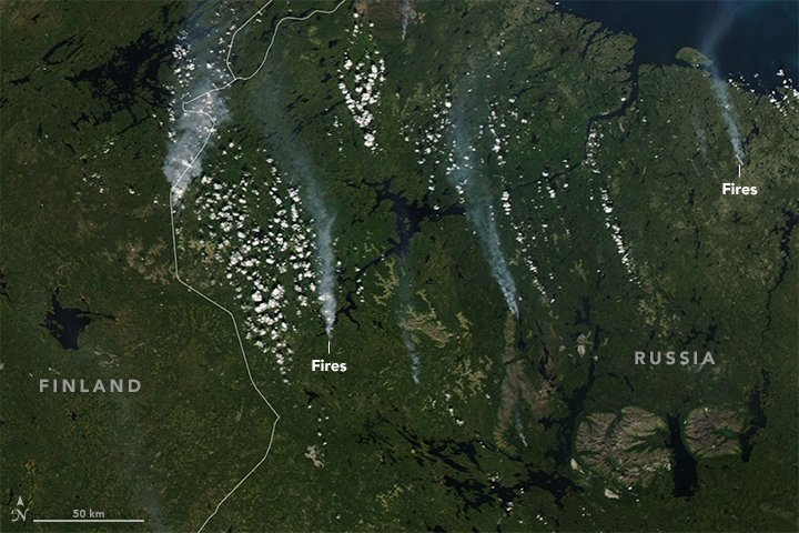 Record-breaking hot and dry conditions have spurred historic wildfire outbreaks in far northern Europe and within the Arctic circle. https://t.co/TrjdB0lQPt #NASA