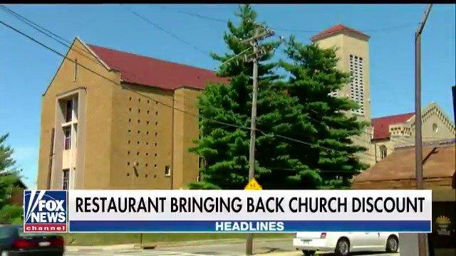 Restaurant bringing back church discount. https://t.co/NVdqmVq3Q7 https://t.co/tzTpFe9AFr