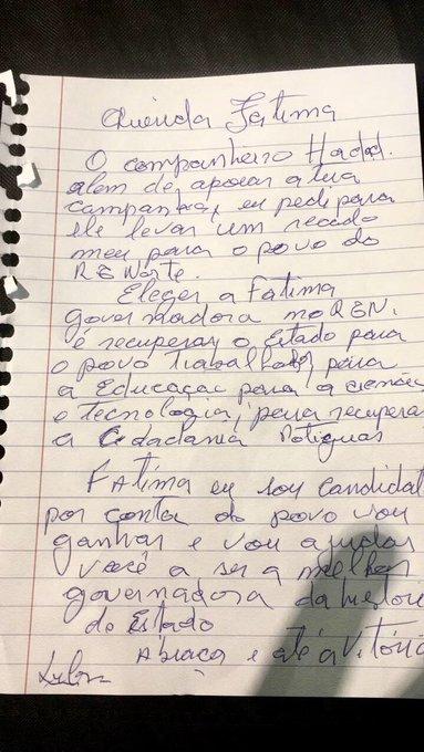 Lula manda cartinha para Fátima Bezerra