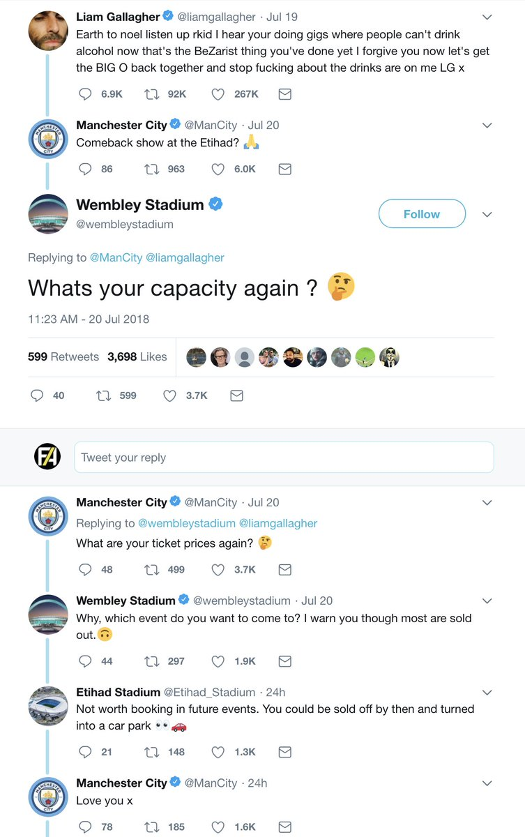 Man City, The Etihad stadium and Wembley stadium having an argument😂 This is why i love twitter 😂😂😂