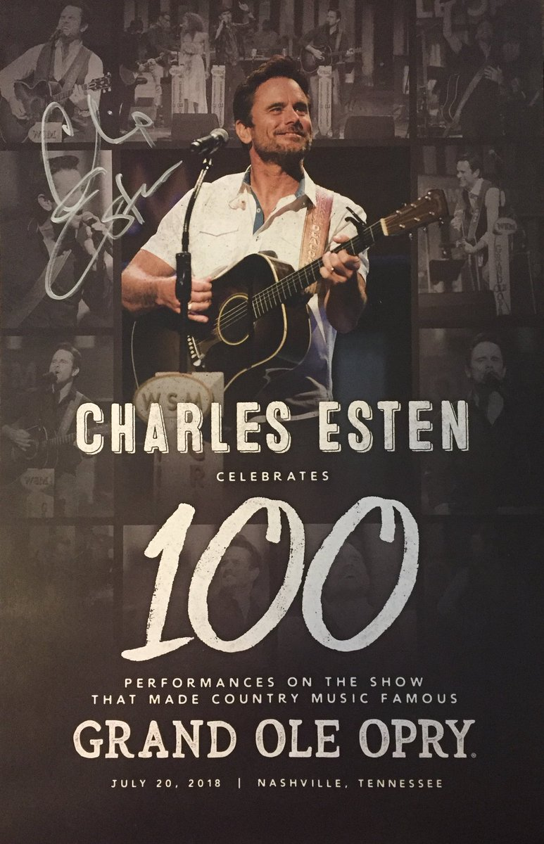 Last night we celebrated @CharlesEsten's 💯 #Opry appearance, and you can take home an autographed poster commemorating the special night!    RT to win!