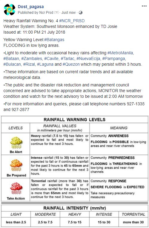 Heavy Rainfall Warning No. 4 #NCR_PRSD Weather System: Southwest Monsoon enhanced by TD Josie Issued at: 11:00 PM 21 July 2018